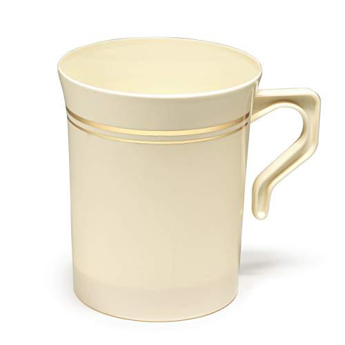 Heavyweight Einweg-Kaffeetasse mit Griffen für Hochzeit, Party, Kunststoff, 227 ml, Goldverzierung, Teetassen, Cappuccinotassen, Espresso-Tasse mit goldfarbenen Rändern 40 pcs Ivory w/Gold Rim