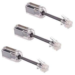 DragonTrading® Entwirrer für Telefonkabel, drehbare Kabelverlängerung, Schwarz, 3 Stück -