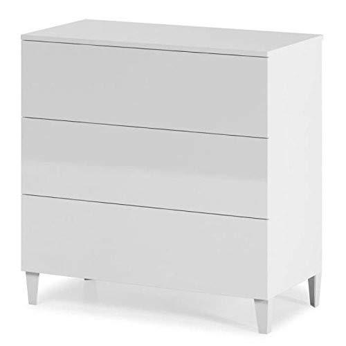 Habitdesign 007833BO Kommode im skandinavischen Stil, hochglänzend, Weiß