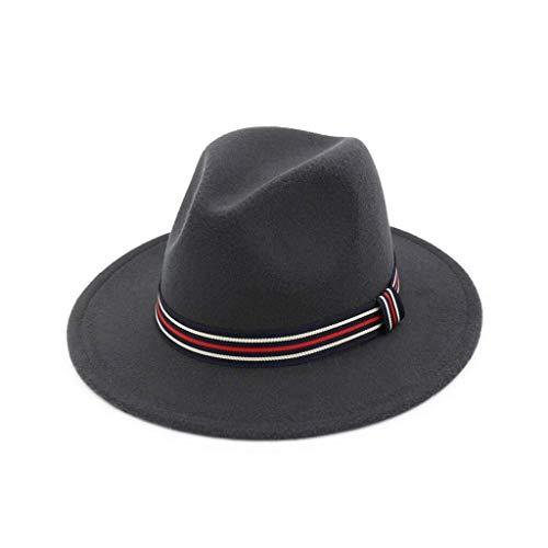 YDS SHOP Einfarbiger Jazz-Hut-weiblicher gestreifter Retro Hut (Color : Grey) (Cool Grey 11 Retro)