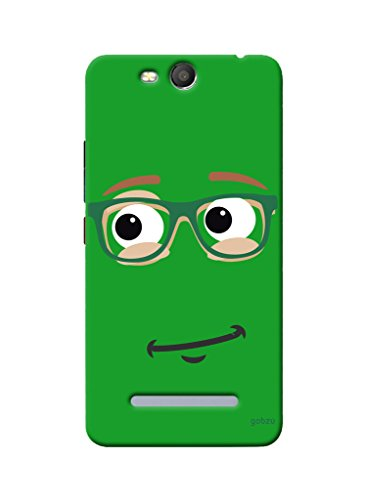 Gobzu Printed Hard Case Back Cover for Micromax Canvas Juice 3 Q392 - Green Smiley  available at amazon for Rs.299