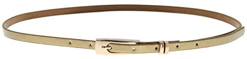 La vogue Damen Ledergürtel Gürtel Belt Schmal Läng: 103cm Farben: Golden