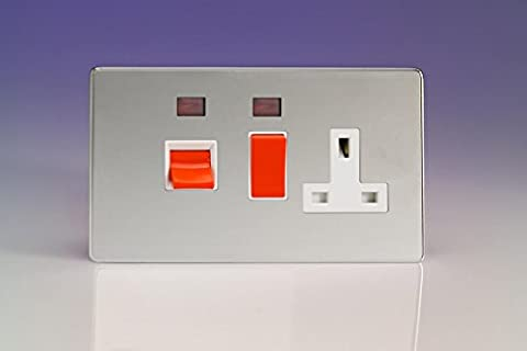 Varilight 45A Cooker Panel + Neon with 13A Double Pole Switched Plug Socket Outlet (Red Rocker) Polished Chrome