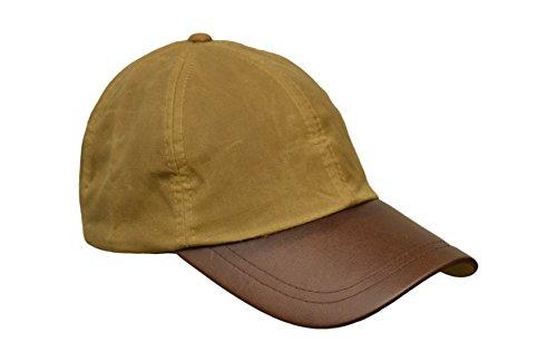 Unisex Baseball-Kappe aus gewachster Baumwolle - Schirm aus Leder - Einheitsgröße Beige (Leder Walker Herren)