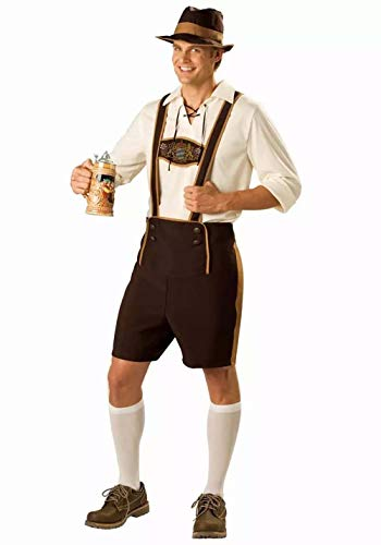 Herren Bayerischer Herr Kostüm Kurze traditionelle Lederhose mit Hosenträgern T-Shirts Oberteil und Hut Fancy Drinker Oktoberfest Tracht -