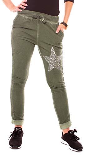 Damen Sweat Sport Relax Hose Sweatpants Jogginghose Joggpants Jogger Lang Stern Silber Glitzer Seitenstreifen Khaki S - 36