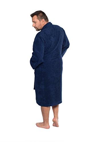 Bademantel Saunamantel BENEDICT aus der Sophie Bernard Kollektion Bath & Spa. Fühl dich wohl! 4XL-Größe / braun. Entspricht der untersetzten Größe 34-38 und internationalen Größe 6-8XL! dunkel blau