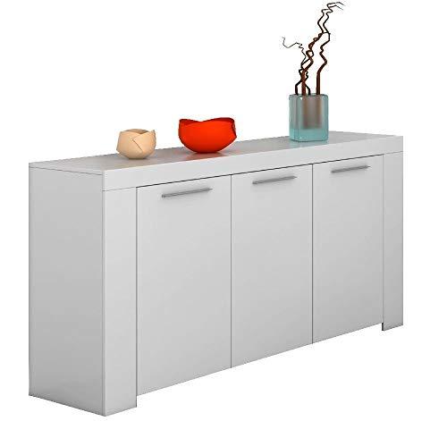Bricozone nairobi credenza 3 ante, credenza soggiorno cucina, credenza con 5 vani multi spazio, mobile credenza in legno, 144 x 80 x 42 cm, bianco