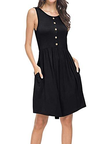 Stynice Sommerkleid Damen Ärmellos Strandkleider Einfarbig A-Linie Kleider (Schwarzes Cape Einfaches)
