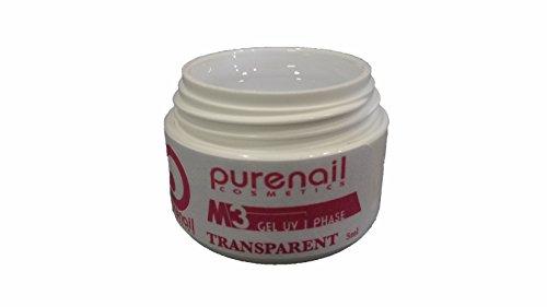 Purenail - Gel UV monofasico FLUIDE 3 in 1, 5 ml, base per ricostruzione unghie finte, colore: Trasparente