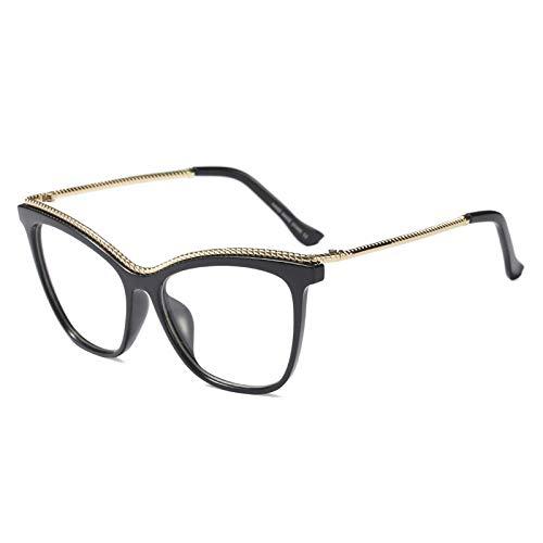 YMTP Übergroße Gläser Für Frauen Halbmetall Großen Rahmen Katzenauge Brille Rahmen Frauen Optische, Schwarz