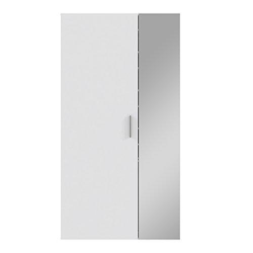 NEWFACE Geräumiger Schuhschrank, Holz, Weiß Hochglanz, Spiegeltür, 99.9 x 36.3 x 190.5 cm