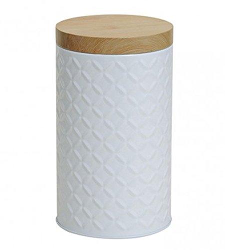 Moderne Metalldose h18Ø10 cm in weiß Deckel in Holzoptik Kaffeedose Keksdose Aufbewahrung