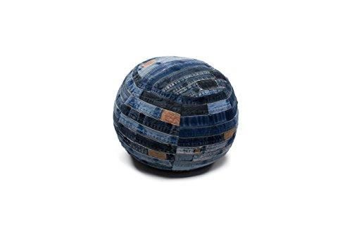 Hocker Sitz-Würfel Abstrakt Design Denim Pouf 210 Bean Bag Muster Baumwolle Blau/Sitzsack günstig...