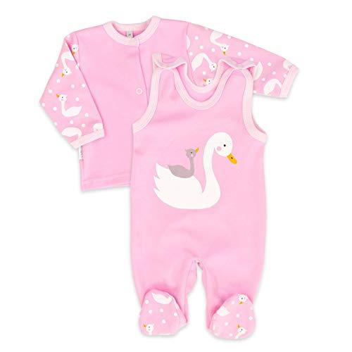 Baby Sweets Baby Set Strampler + Shirt Mädchen rosa   Motiv: Schwan   Babyset 2 Teile für Neugeborene & Kleinkinder   Größe 9 Monate (74)...... Haute Baby-sweet
