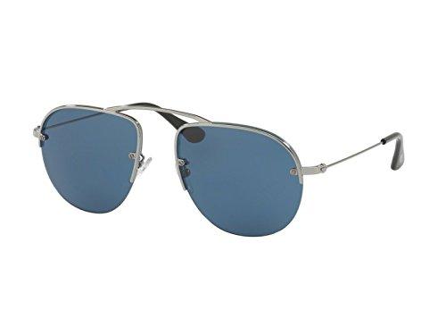 Prada - PRADA TEDDY PR 58OS, Aviator, metallo, uomo, RUTHENIUM/BLUE(5AV/1V1 A), (Pr Metallo)