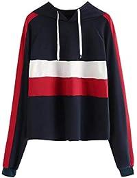 Mujer Sudaderas, ASHOP Manga Larga Patchwork a Rayas Blusa Talla Extra Sweatshirt Casual Encapuchado Sudadera Mujer Cremallera Corta Top Deporte