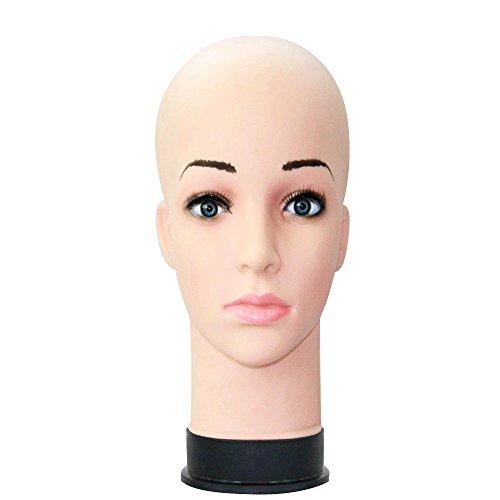 Tonsee Weibliche Kopf Modell,Silikon Mannequin Prüfpuppe Model Prüfpuppe Kopf Schaum Perücke Haar Brille Modelldarstellung,Beauty Dummy-Perücke Brille Hut Ausbildung Display-Ständer (Fleischfarbe)