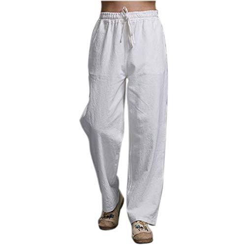 0b384710e01b Pantaloni di Lino da Uomo Pantaloni Completo Solidi Tasche Laterali Dritti  Pantaloni da Benda Pantaloni Casual