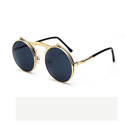 ZCF Retro Doppel-Muschelschale Sonnenbrille männlich Metall kleine Runde Sonnenbrille weibliche Gesicht kleine Sonnenbrille Bühnenperformance (Farbe : Black)