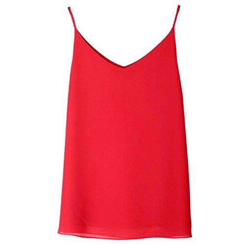 Les Femmes Sans Manches Plaine V Cou Mousseline Spaghtti Base Tops Sangle Cami Chemisiers Nouvelle Rouge