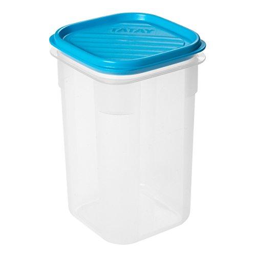 TATAY 1160400 - Contenedor de alimentos hermético con tapa flexible a presión, Plástico transparente con tapa azul, libre de BpA, 1 litro de capacidad, 10 x 10 x 16,5