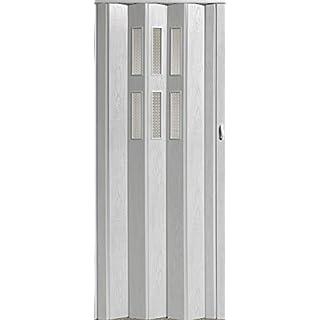 Falttür Schiebetür Tür weiß gewischt mit Fenster mit Schloss Höhe 202 cm Einbaubreite bis 84 cm Doppelwandprofil Neu TOP-Qualität