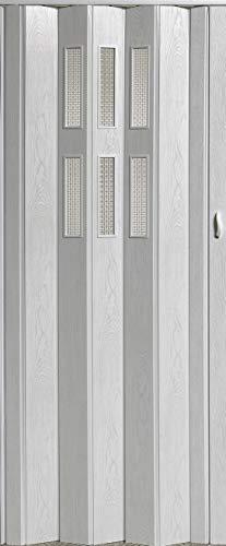 Falttür Schiebetür Tür weiß gewischt mit Fenster Class Höhe 202 cm Einbaubreite bis 84 cm Doppelwandprofil Neu TOP-Qualität