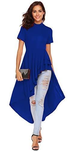 1827a8f91e70f9 LaLaLa Women's Vintage Casual Short Sleeve Hi-Lo Elegant Cocktail Swing  Party Dress(Blue