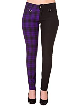 Pantalones Ajustados Púrpura Tartán a Cuadros Emo Punk de Banned para Mujeres de Piernas Separadas