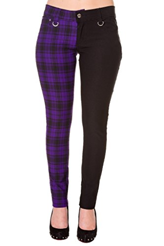 Pantalones Ajustados Púrpura Tartán a Cuadros Emo Punk de...