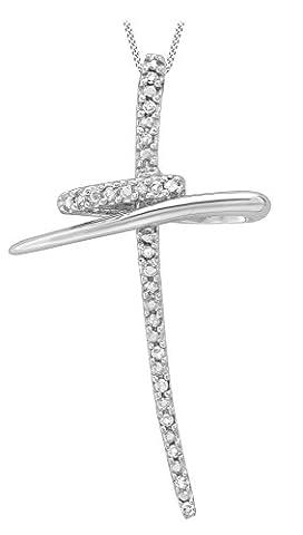 Carissima Gold 9ct White Gold 0.10ct Diamond Twist Cross Pendant on Chain Necklace of 46cm/18