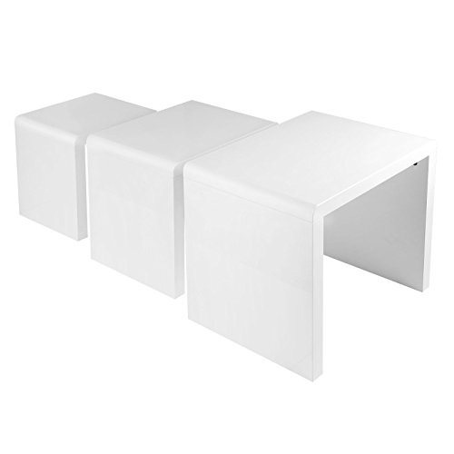 White High Gloss Side End Square 2 Seats Of Coffee Table: Schindora® High Gloss Nest Of Coffee Table Side Table