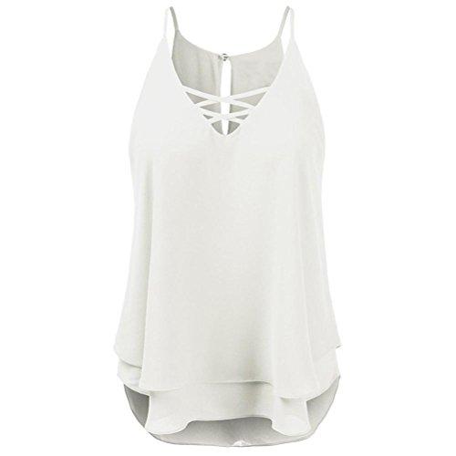 OverDose Damen Sommer Ärmellos Bluse Mode Frauen Bandagen Sleeveless Weste Spitze Schmetterling Strappy Print Tank Tops T Shirt Oberteile(X-c-weiß,M) -