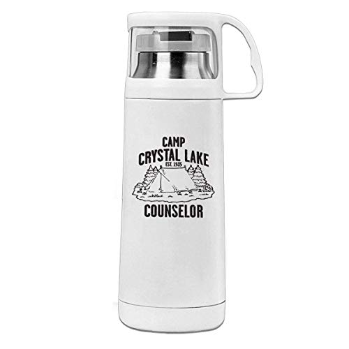 Bestqe Vakuumisolierte Trinkflasche,Wasserflasche, Camp Crystal Lake Counselor 11.8oz Travel Vacuum Insulated Cover Cup Stainless Steel Thermos Cup