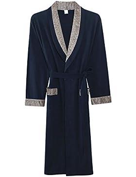 PFSYR Albornoces finos de algodón de manga larga/Pijamas para hombres Camisón/Ropa cómoda para el hogar en primavera...