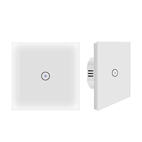 Jinvoo Smart WiFi Wandlichtschalter Glasscheibe, Touchscreen-Schalter, Drahtlose Fernbedienung von Mobile APP überall, Timing-Funktion, kein Hub erforderlich, kompatibel mit Alexa (EU 1 Gang 2-Pack) -