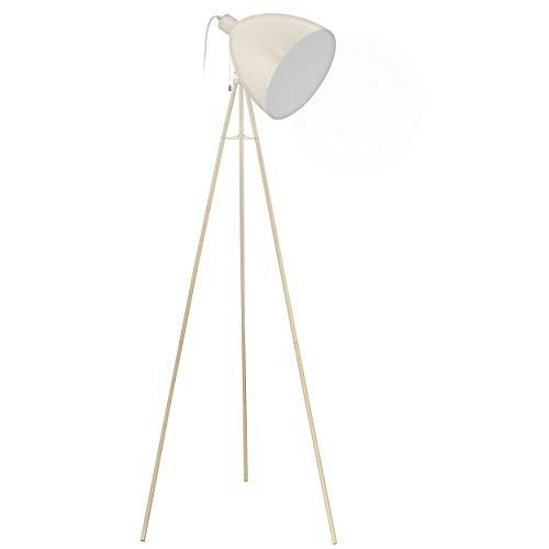 EGLO Dreibein Stehlampe Dundee, 1 flammige Vintage Stehleuchte, Standleuchte aus Stahl, Farbe: Sandfarben, Fassung: E27, inkl. Zugschalter