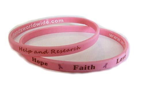 Bracelet fin en silicone avec inscription Hope, Faith, Love pour soutien de la lutte contre le cancer du sein Rose 2 wristbands