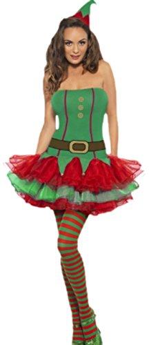 Fancy Ole - Damen Frauen Weihnachtselfen Kostüm kurzes Kleid und Hut Mütze, S, Grün (Lebkuchen Mann Verkleiden Kostüm)