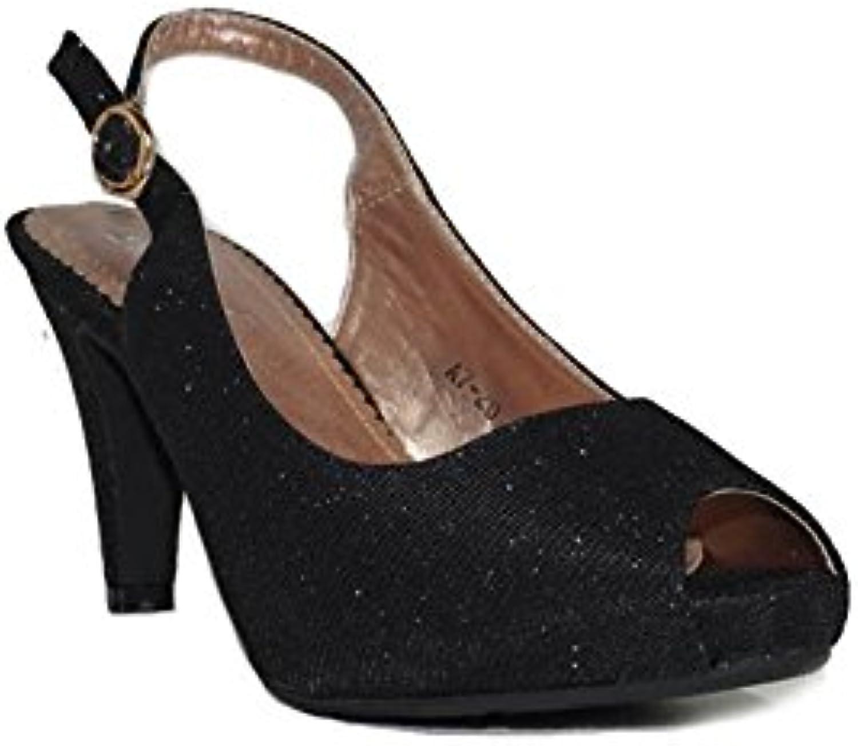 QUNHUI - QUNHUI Glamour Fiesta A7-20 Zapatos Fiesta Tacón Mujer Altos Negros con Plataforma Elegantes Noche Sandalias... -