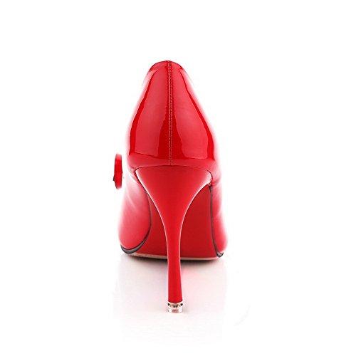 VogueZone009 Donna Tirare Tacco A Spillo Pelle Di Maiale Puro Punta Chiusa Scarpe A Punta Ballerine Rosso
