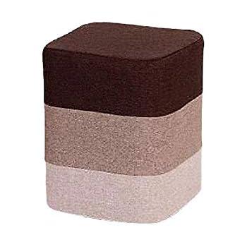Keraiz Round Fabric Coated Footstool Pouffe In Brown