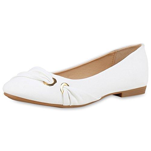 SCARPE VITA Klassische Damen Ballerinas Leder-Optik Flats Freizeit Schuhe 160368 Weiss 38