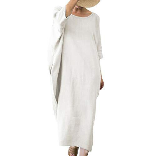 YueLove Frauen Casual Kleid Lose Leinen Einfarbig Fledermaus Mid Sleeve O Neck Plus Size Einfache Long Shift Kleid Frauenkleid Jerseykleid Abendkleid Ballkleid -