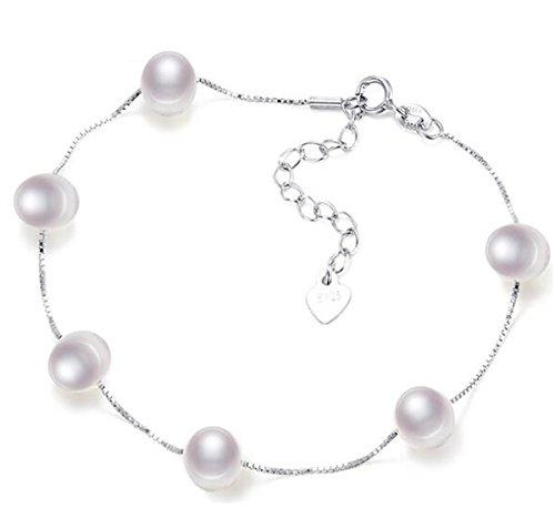 Sasavie-Braccialetto Perle-Argento 925 Sterling-Regolabile-Oro Bianco Placcato-Natale Gioielli-Regalo Donna
