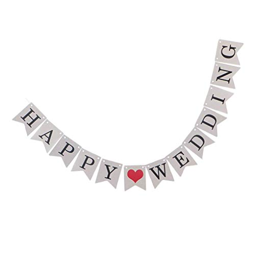 Pegcdu Happy Wedding Banner Hochzeit Brautparty-Partei-Dekorationen Banner Fish Tail Flagge Garland (Mantel Auf Garland)