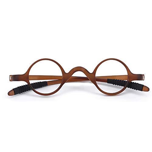 GLASSES Runde Vollformat-Lesebrille für Männer und Frauen, Verschleißfeste und Kratzfeste ultraleichte Harzlinse Schutzbrillen gegen Ermüdung, TR Scharnier faltende Brillenbeine