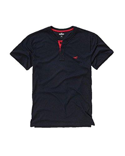 new-hollister-banded-collar-navy-henley-t-shirt-tee-top-medium-m-polo-shirt-men-blue
