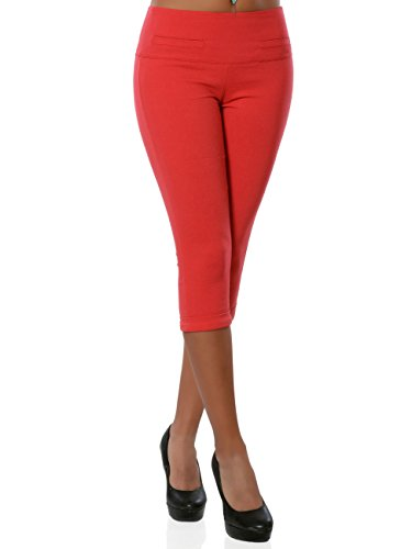 Daleus Damen High-Waist Capri-Hose Sommerhose Kurze-Hose No 15846, Farbe:Rot, Größe:XL / 42